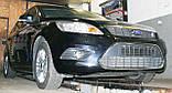 Декоративно-защитная сетка радиатора Ford Focus II фальшрадиаторная решетка, бампер, фото 5