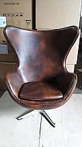 Кресло Эгг (Egg), кожа, металл, цвет коричневый, фото 3