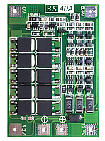 Модуль защиты и контроля заряда BMS Li-Ion 18650 3S 40A, фото 1