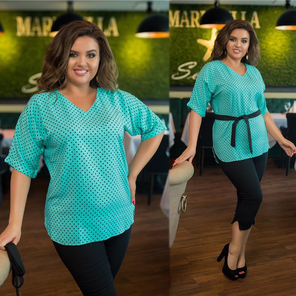 Стильный женский костюм: туника в мелкий узор и джинсовые капри, батал большие размеры