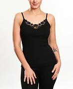 Майка женская узкая бретелька с кружевом черный цвет отличное качество KO-MI