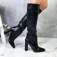 Женские сапоги на каблуке из эко-кожи чёрные, фото 1