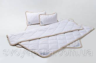 Комплект із Вовни Мериносів Білий Класичний Односпальний (Ковдра 140х200+Подушка 40х60)