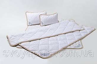 Комплект із Вовни Мериносів Білий Класичний Двохспальний (Ковдра 180х200+Подушка 40х60 2шт.)