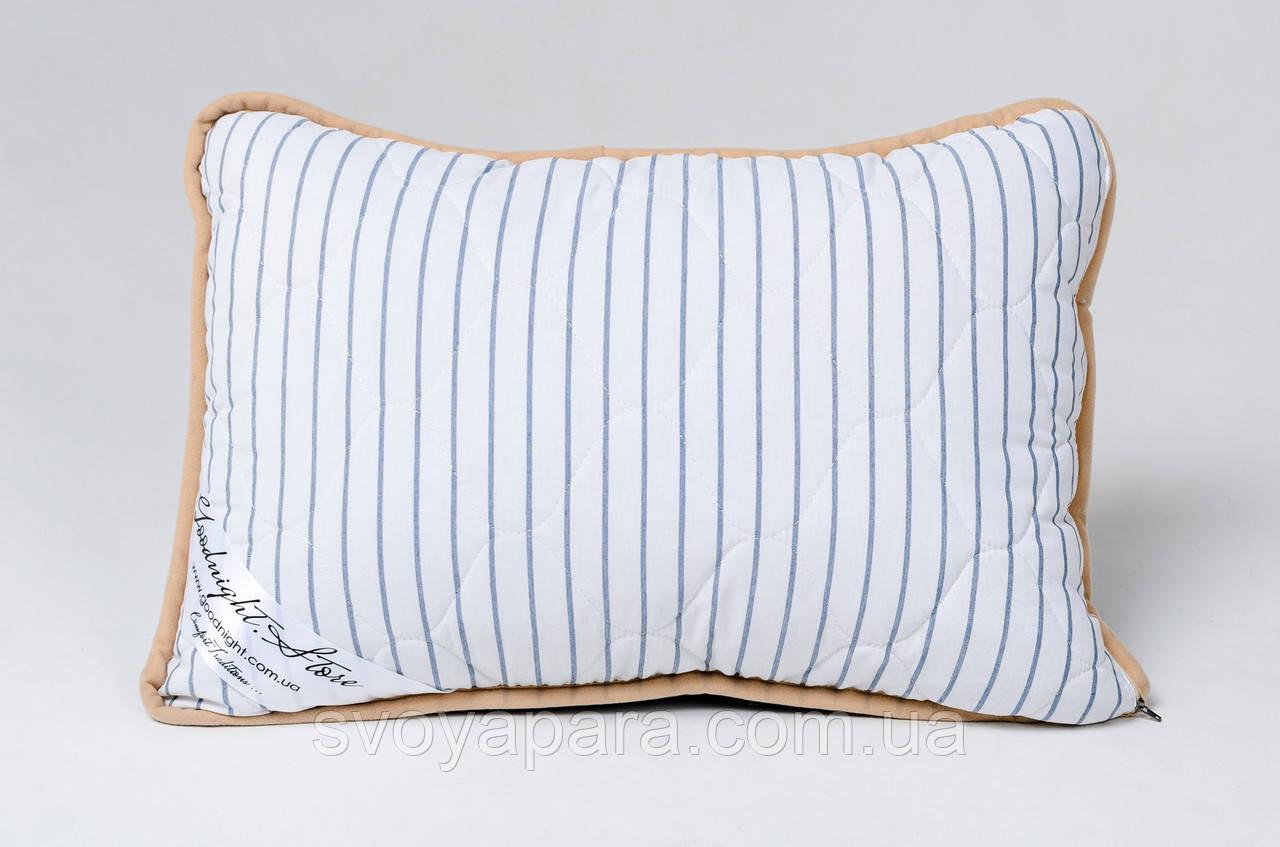 Подушка із вовни мериносів синя у смужку розмір 40х60