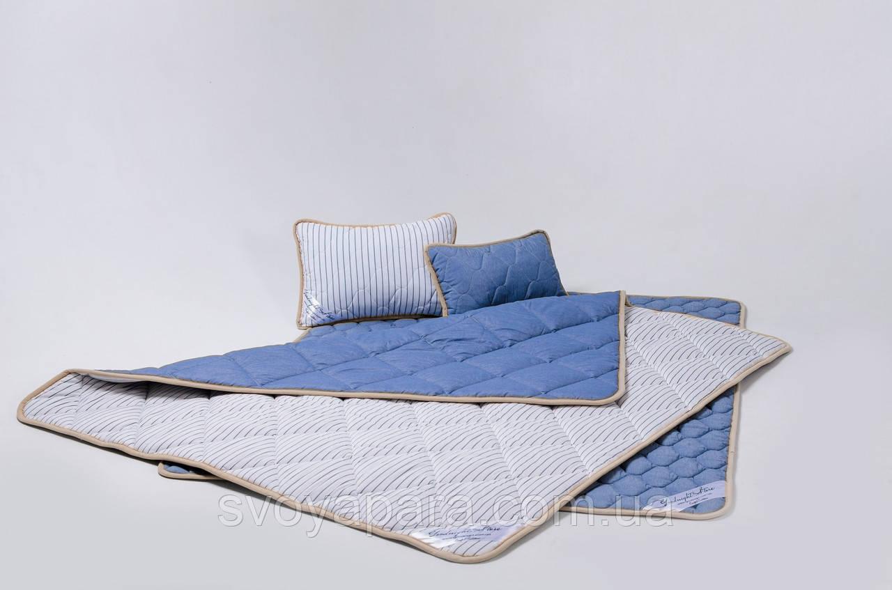 Комплект із вовни мериносів синій у смужку односпальний (Наматрасник 100х200 Ковдра 140х200 + Подушка 40х60)