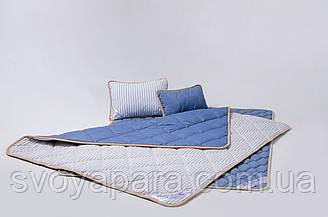 Комплект із вовни мериносів синій у смужку євро (Наматрасник 180х200 Ковдра 220х200 + Подушки 40х60 2шт.)