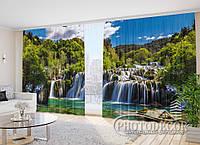 """Фото Шторы в зал """"Водопад в горах"""" Просчитать стоимость"""