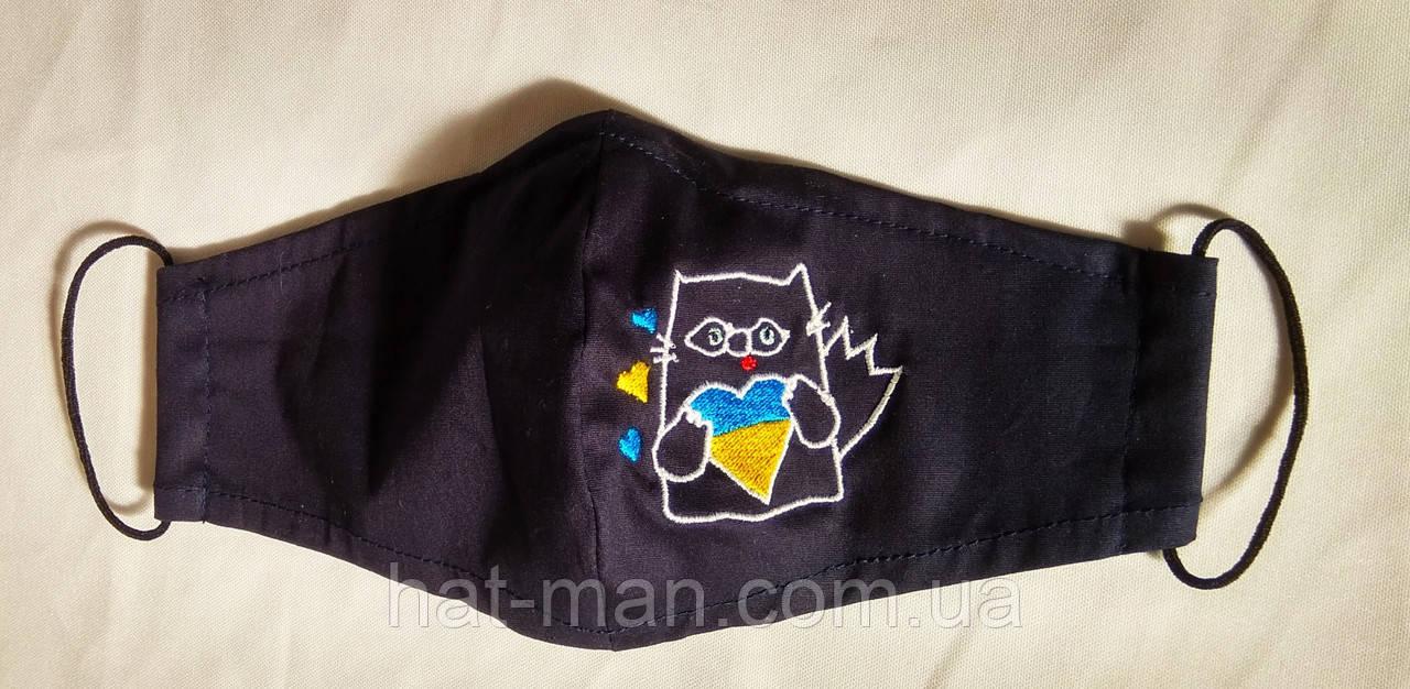 """""""Патріотичний кіт"""" на темно-синій тканині"""