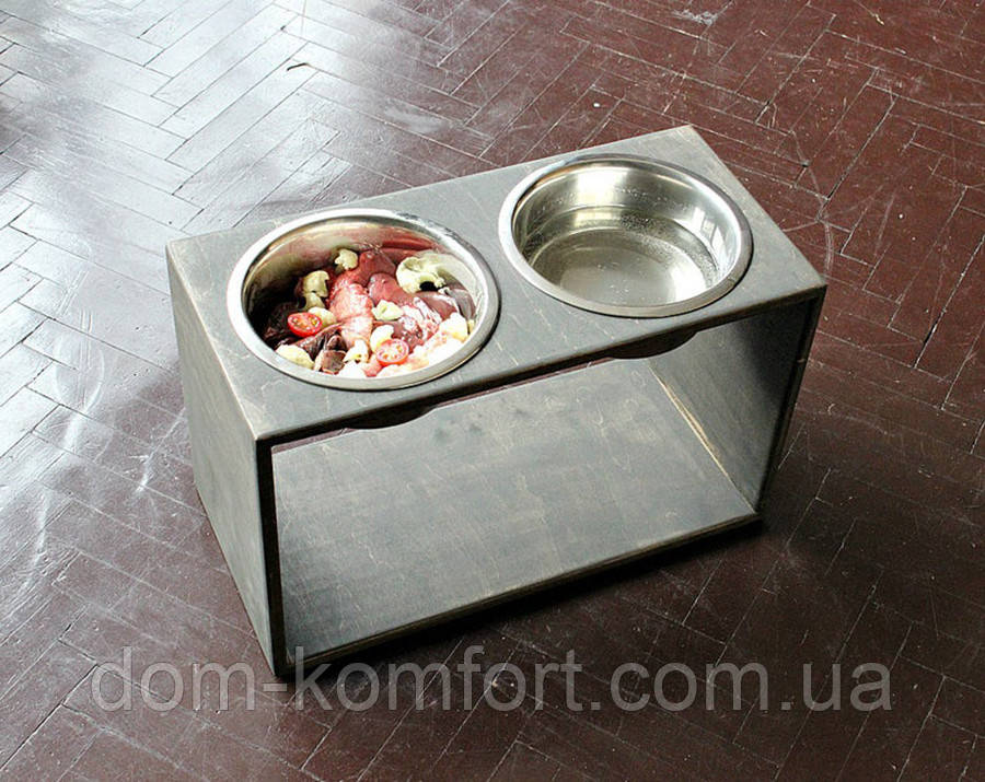 КІТ-ПЕС by smartwood Мискa на подставке | Миска-кормушка металлическая для собак щенков - 2 миски 1700 мл