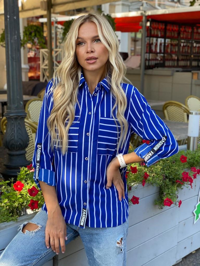 Полосатая блузка с подворачивающимся рукавом