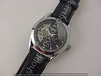 Мужские часы Слава Созвездие GX505 серебристые на черном циферблате механические автоподзавод скелетон