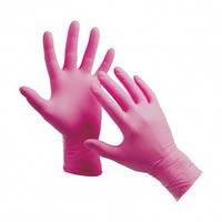 Нитриловые перчатки Nitrylex PF текстурированные на пальцах неопудренные р-р M 100 шт Розовые (MAS40137)