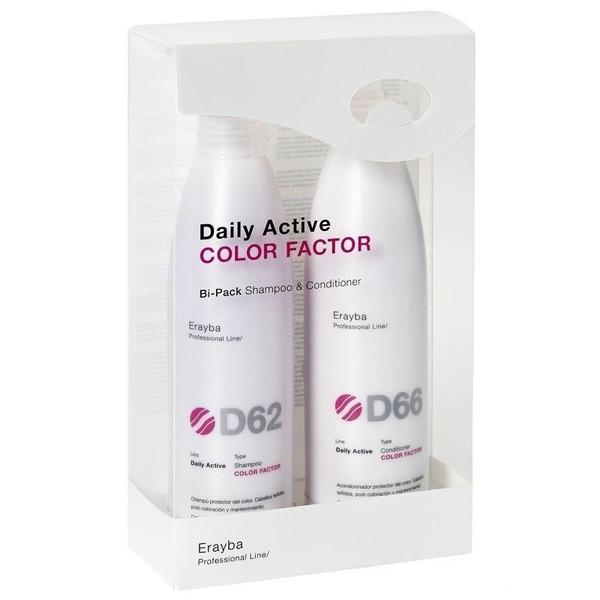 Набор для ухода после окрашивания Erayba Daily Active Color Factor D 62/66 (Шампунь 250мл + кондиционер 200мл)