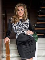 Платье-миди с принтовым рисунком леопард 48,50,52,54