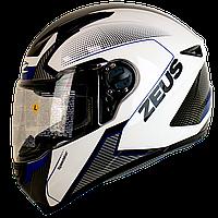 Мотошолом інтеграл ZEUS ZS-811 White AL6 Blue - білий