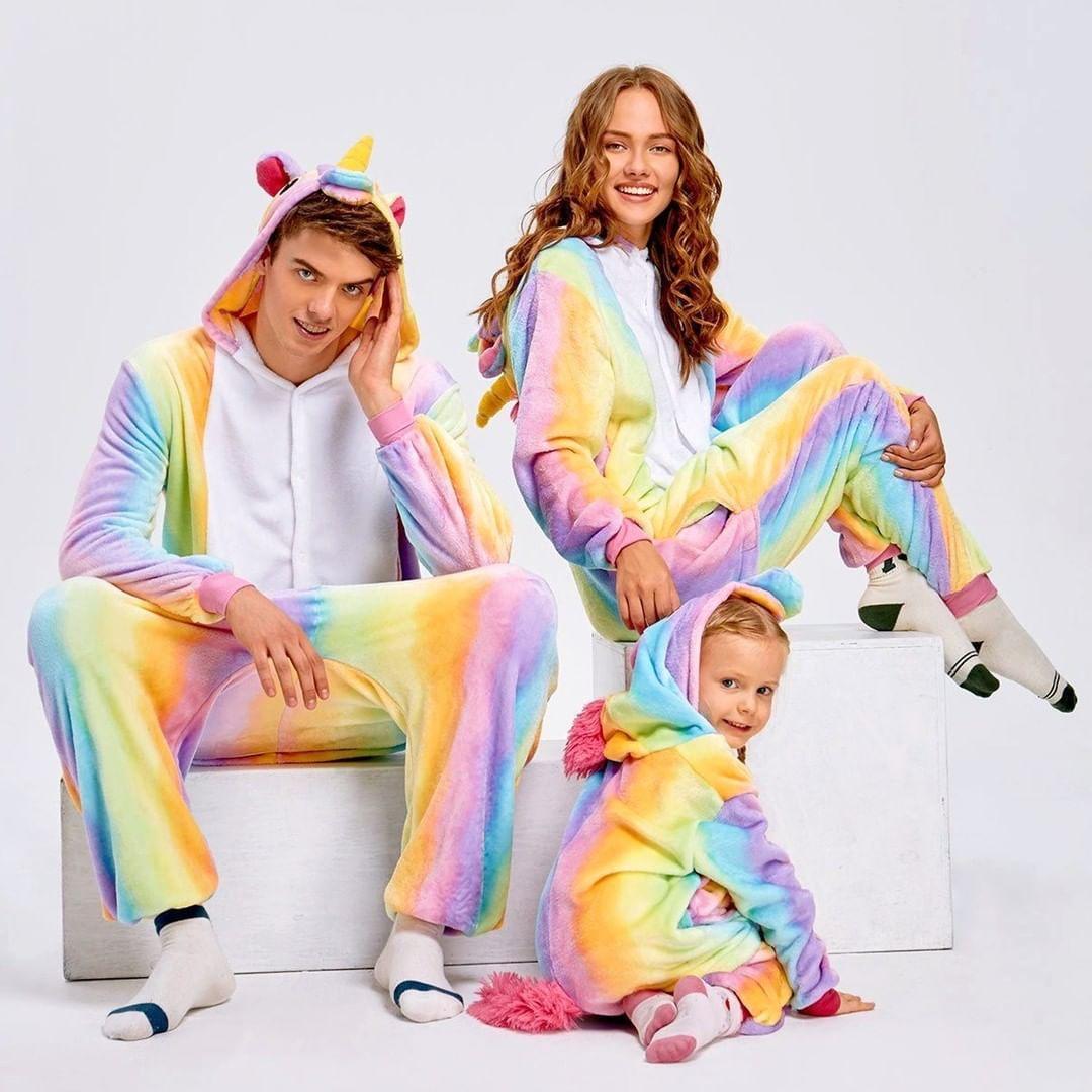 Пижама кигуруми для всей семьи - Радужный единорог - Оригинал - состав: Велсофт