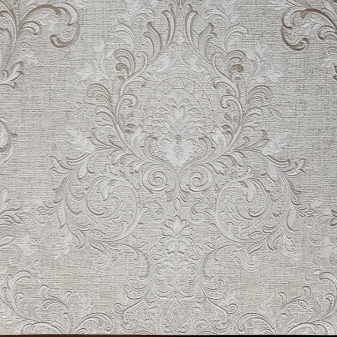 Обои виниловые на флизелине Grandeco Virtuoso метровые под ткань вензеля розетки серебром на светло сером фоне