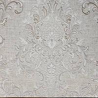 Обои виниловые на флизелине Grandeco Virtuoso метровые под ткань вензеля розетки серебром на светло сером фоне, фото 1