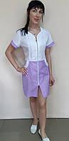 Жіночий медичний халат Жасмин бавовна на блискавці короткий рукав