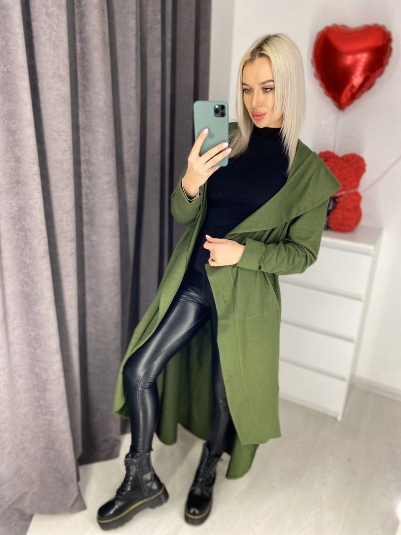 Женское тонкое пальто оригинального кроя 42-46 (в расцветках)