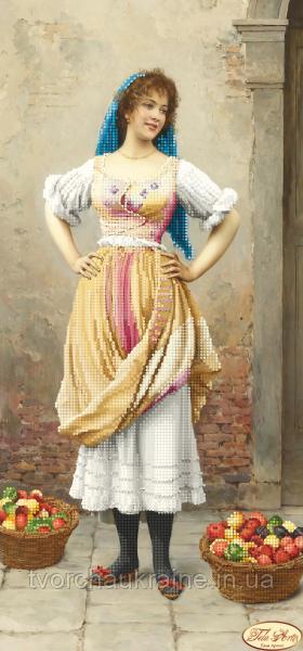 """Схема для вышивки бисером """"Девушка с фруктами"""""""