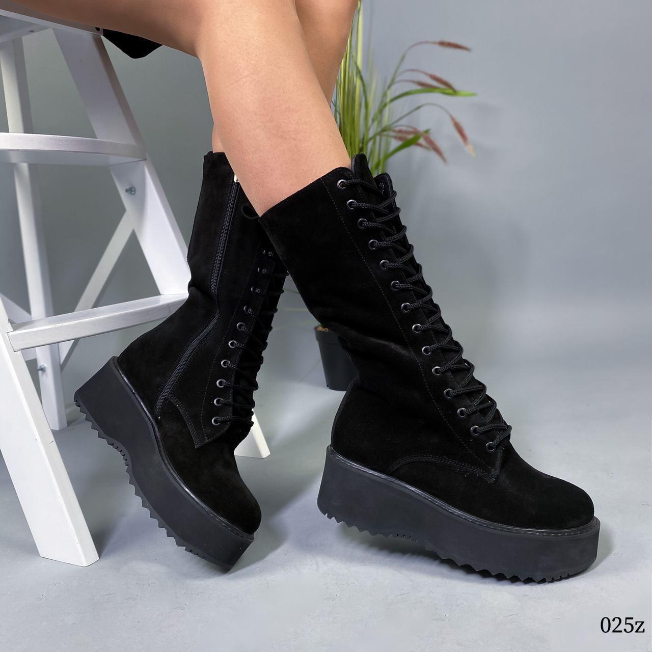 Ботинки высокие женские чёрные натуральная замша
