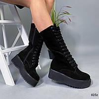 Ботинки высокие женские чёрные натуральная замша, фото 1
