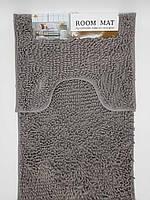 Набор ковриков в ванную комнату из микрофибры лапша ''ROOM MAT'' графитовый  50х80см. и туалет 40х50см.