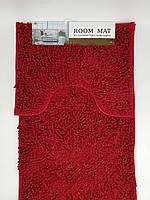 Набор ковриков в ванную комнату из микрофибры лапша ''ROOM MAT'' бордовый 50х80см. и туалет 40х50см.