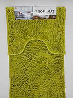 Набор ковриков в ванную комнату из микрофибры лапша ''ROOM MAT'' оливковый  50х80см. и туалет 40х50см.