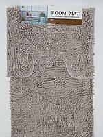 Набор ковриков в ванную комнату из микрофибры лапша ''ROOM MAT'' серый  60х90см. и туалет 40х60см.