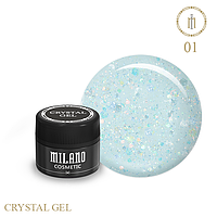 Гель для дизайна Crystal Glitter Gel Milano №01 6 мл