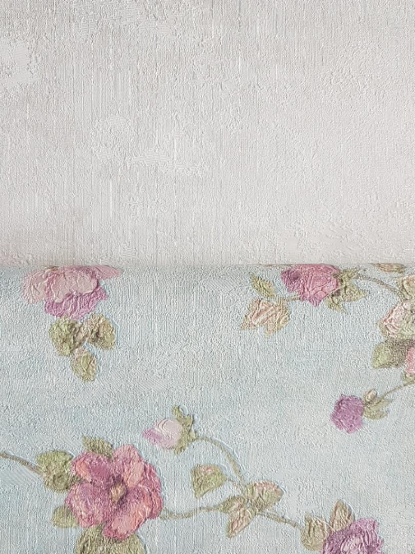 Обои виниловые на флизелине Grandeco Virtuoso метровые под гобелен ветки цветы розы розовые на голубом