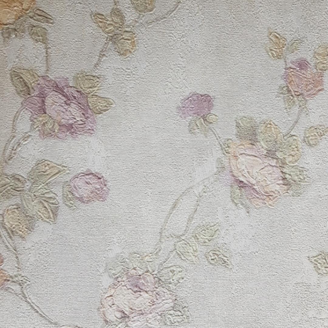 Обои виниловые на флизелине Grandeco Virtuoso метровые под гобелен ветки цветы розы сиреневые на белом