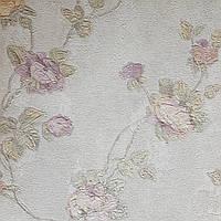 Обои виниловые на флизелине Grandeco Virtuoso метровые под гобелен ветки цветы розы сиреневые на белом, фото 1