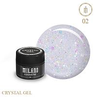 Гель для дизайна Crystal Glitter Gel Milano №02 6 мл