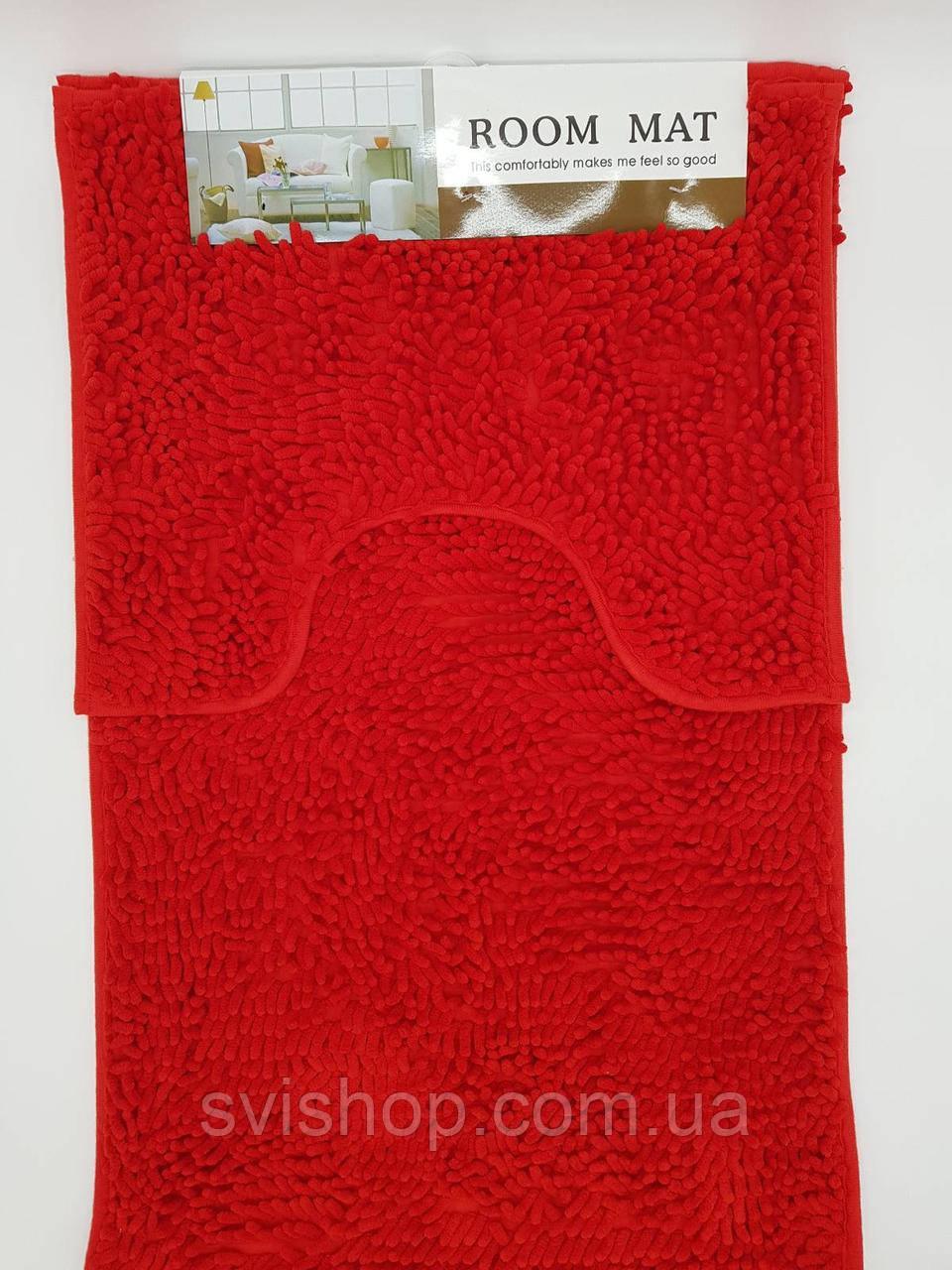 Набор ковриков в ванную комнату из микрофибры лапша, красный 50х80см. и туалет 40х50см.