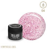 Гель для дизайна Crystal Glitter Gel Milano №04 6 мл