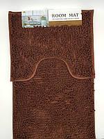 Набор ковриков в ванную комнату из микрофибры лапша ''ROOM MAT'' темно-коричневый  50х80см. и туалет 40х50см.