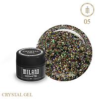 Гель для дизайна Crystal Glitter Gel Milano №05 6 мл