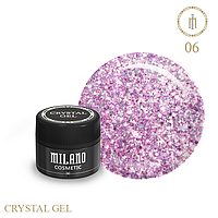 Гель для дизайна Crystal Glitter Gel Milano №06 6 мл