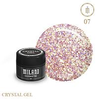 Гель для дизайна Crystal Glitter Gel Milano №07 6 мл