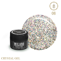 Гель для дизайна Crystal Glitter Gel Milano №08 6 мл