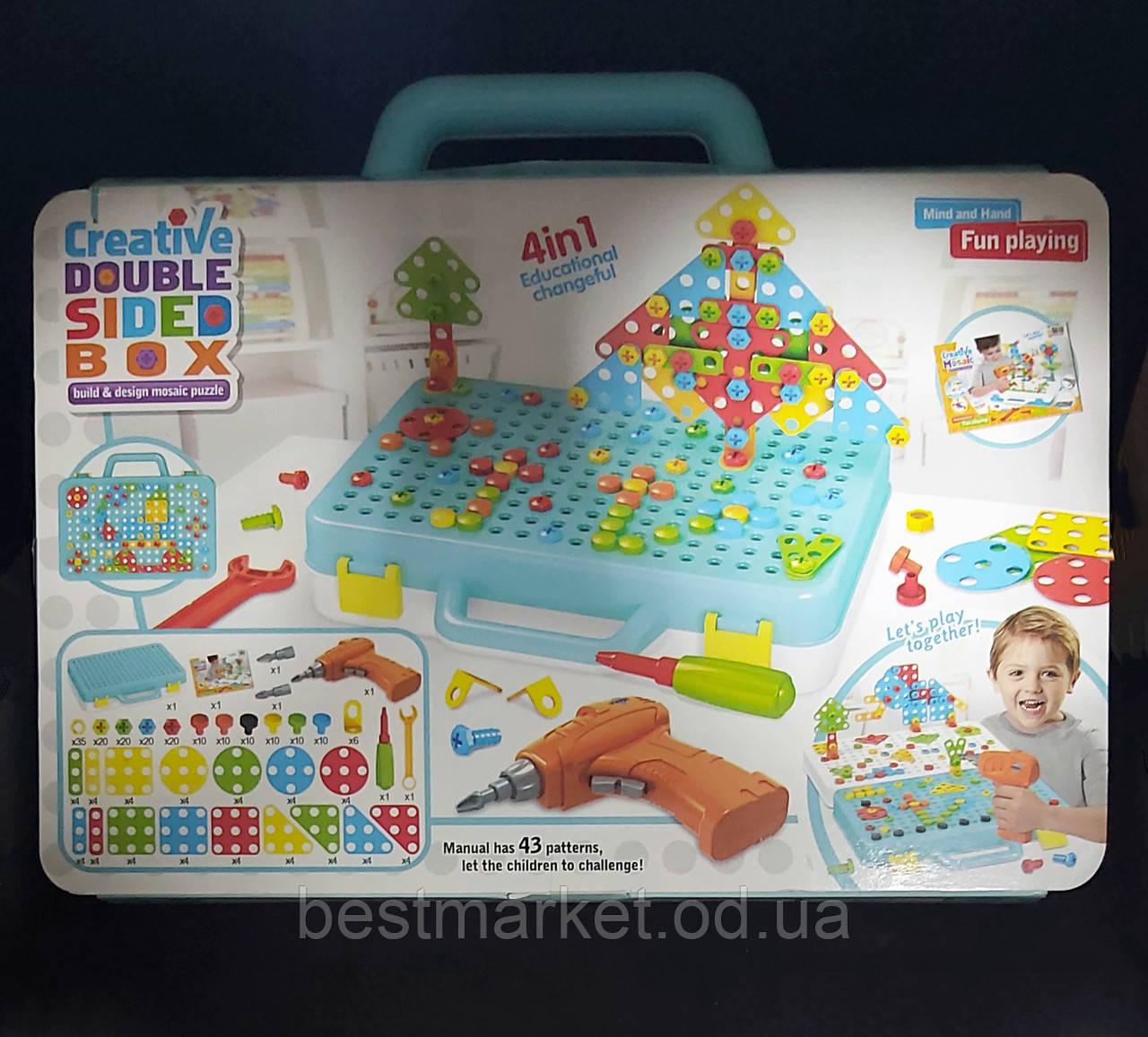 Детский Конструктор Винтовая Мозаика с Шуруповертом Creative Double Sided 4 в 1 Box 252 Элементa