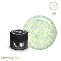 Гель для дизайна Crystal Glitter Gel Milano №09 6 мл