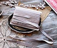 Эластичная тесьма серая в горошек для повязок и рукоделия, фото 1