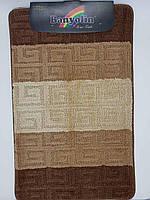 Набор ковриков с ворсом для ванной, бежевый цвет 50х80 и туалета 50х40см. (Турция), фото 1