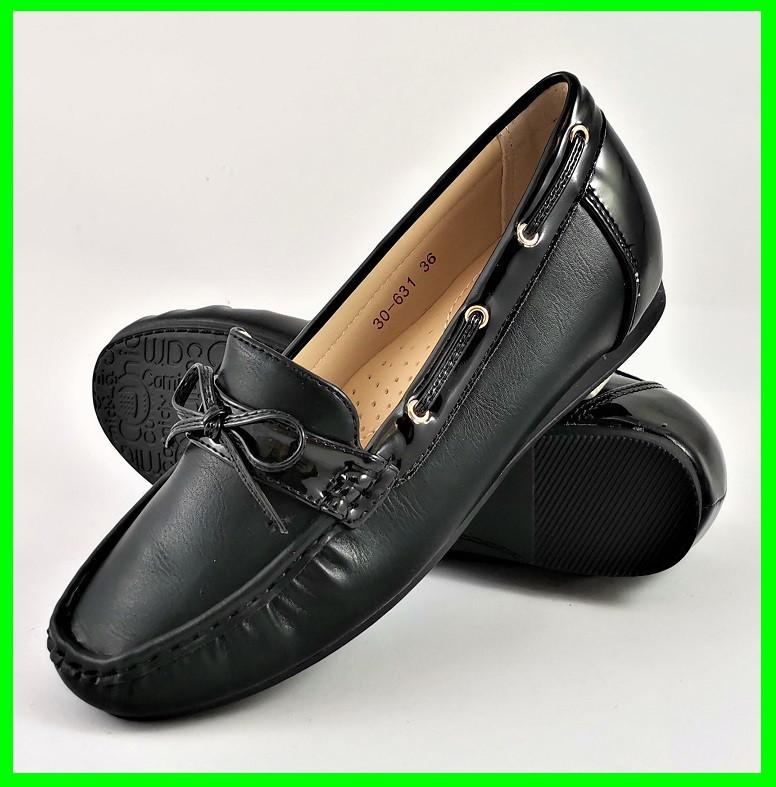.Женские Мокасины Чёрные Слипоны Кожаные (размеры: 36,39,40,41) - 631