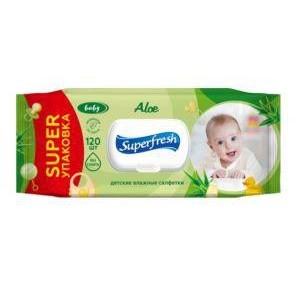 Влажные салфетки Super fresh для детей 120 шт Алое с клапаном